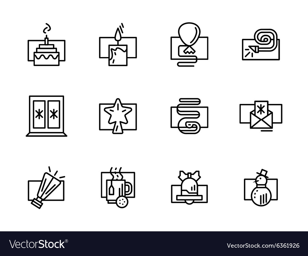 Simple line New Year decor icons vector image