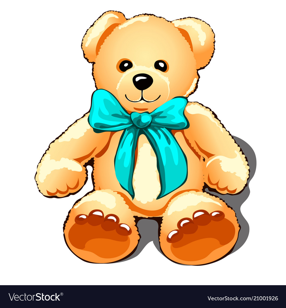 Teddy bear with a turquoise bow isolated on white