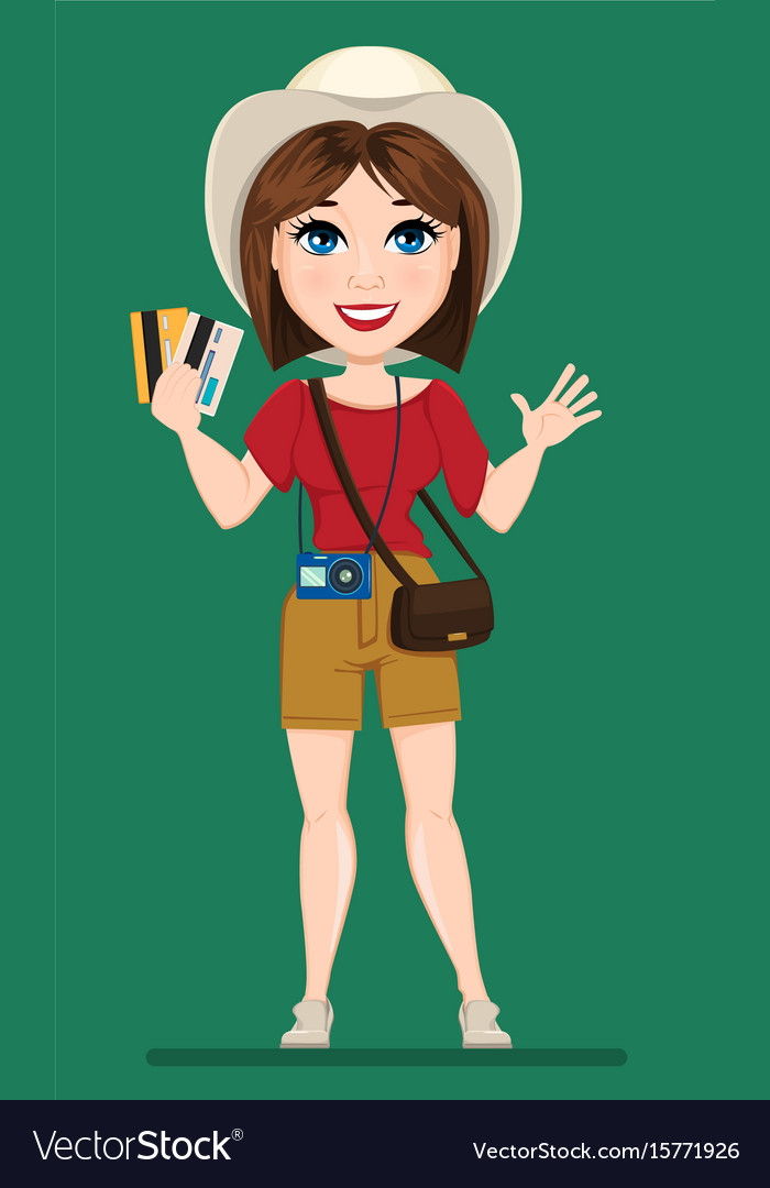 Tourist woman traveler holding credit cards and