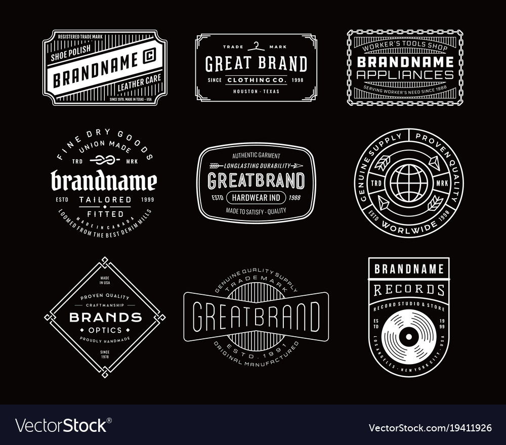 Vintage logo insignia badge set