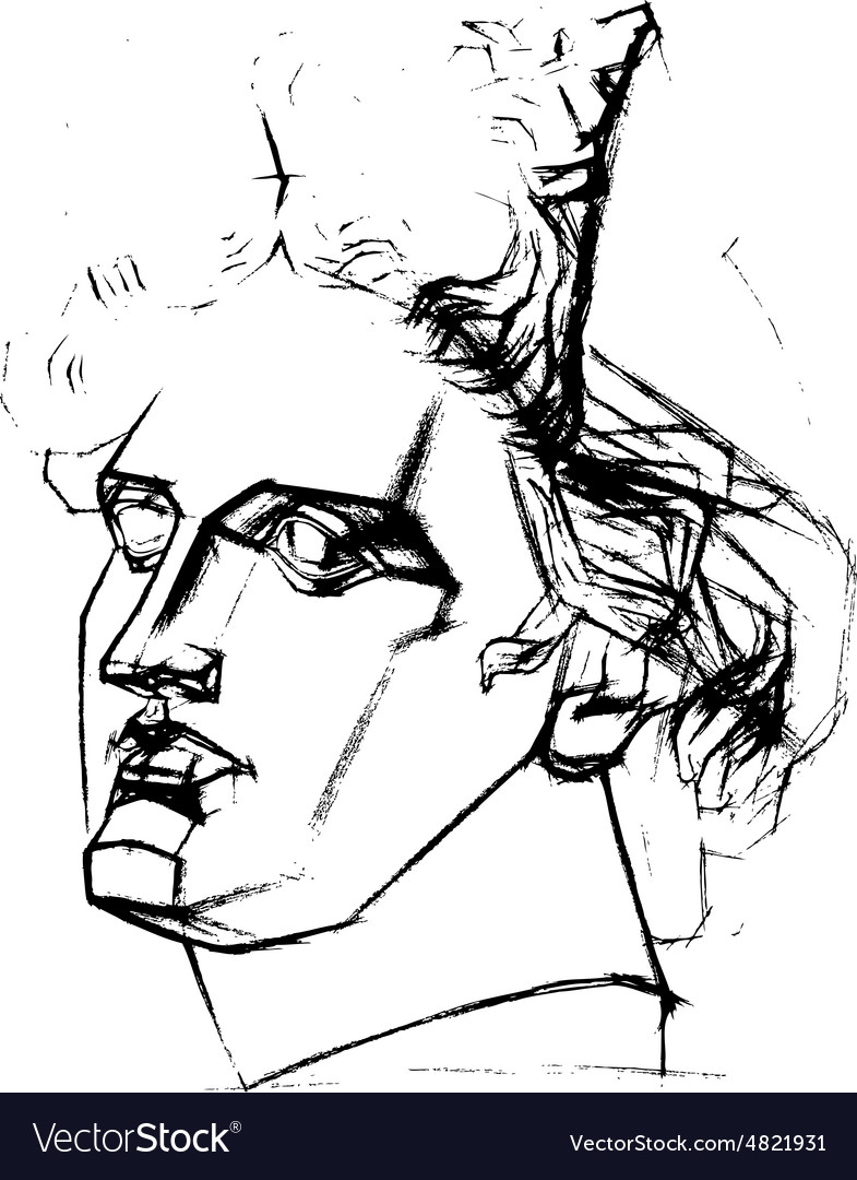 Academic drawing of the head of Apollo vector image