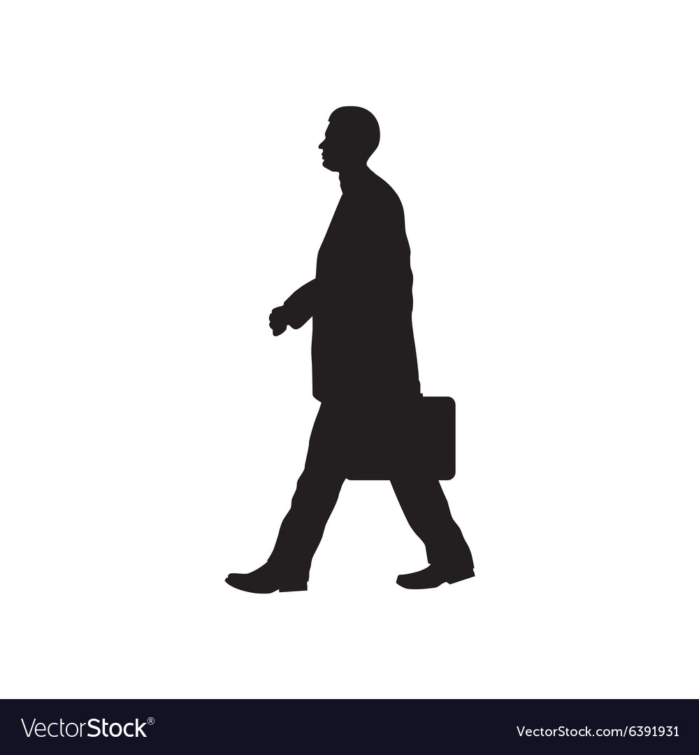 Black silhouette of the person with a briefcase