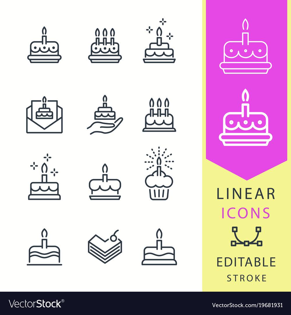 Cake - line icon set editable stroke