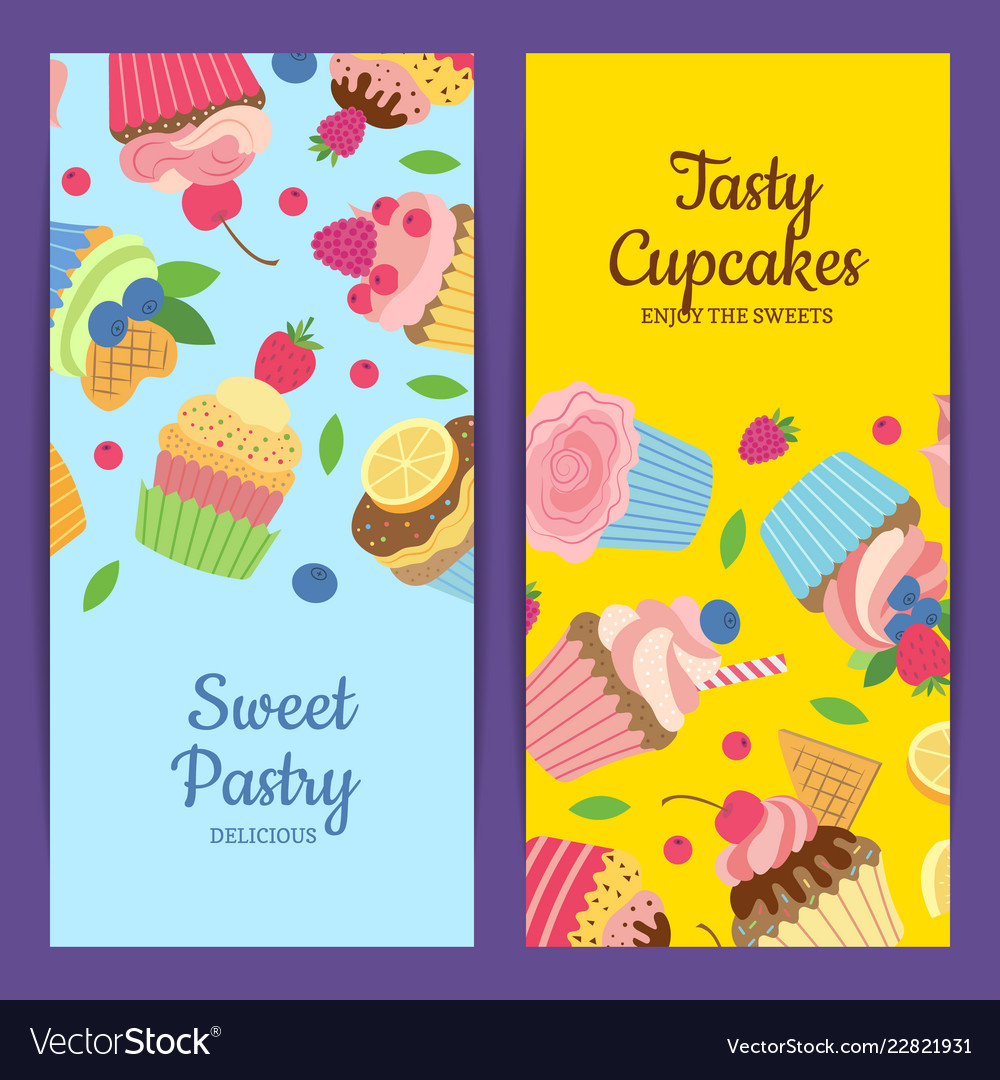 Cute cartoon muffins or cupcakes web banner