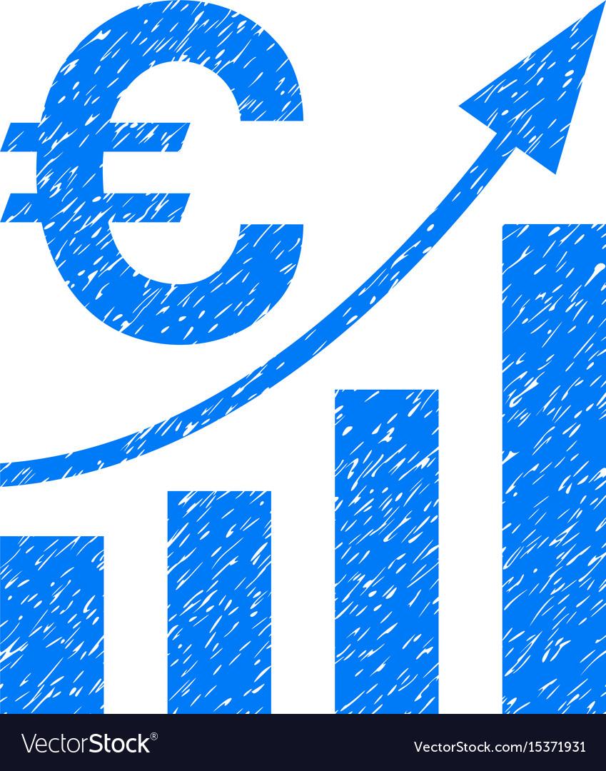 Euro bar chart trend grunge icon