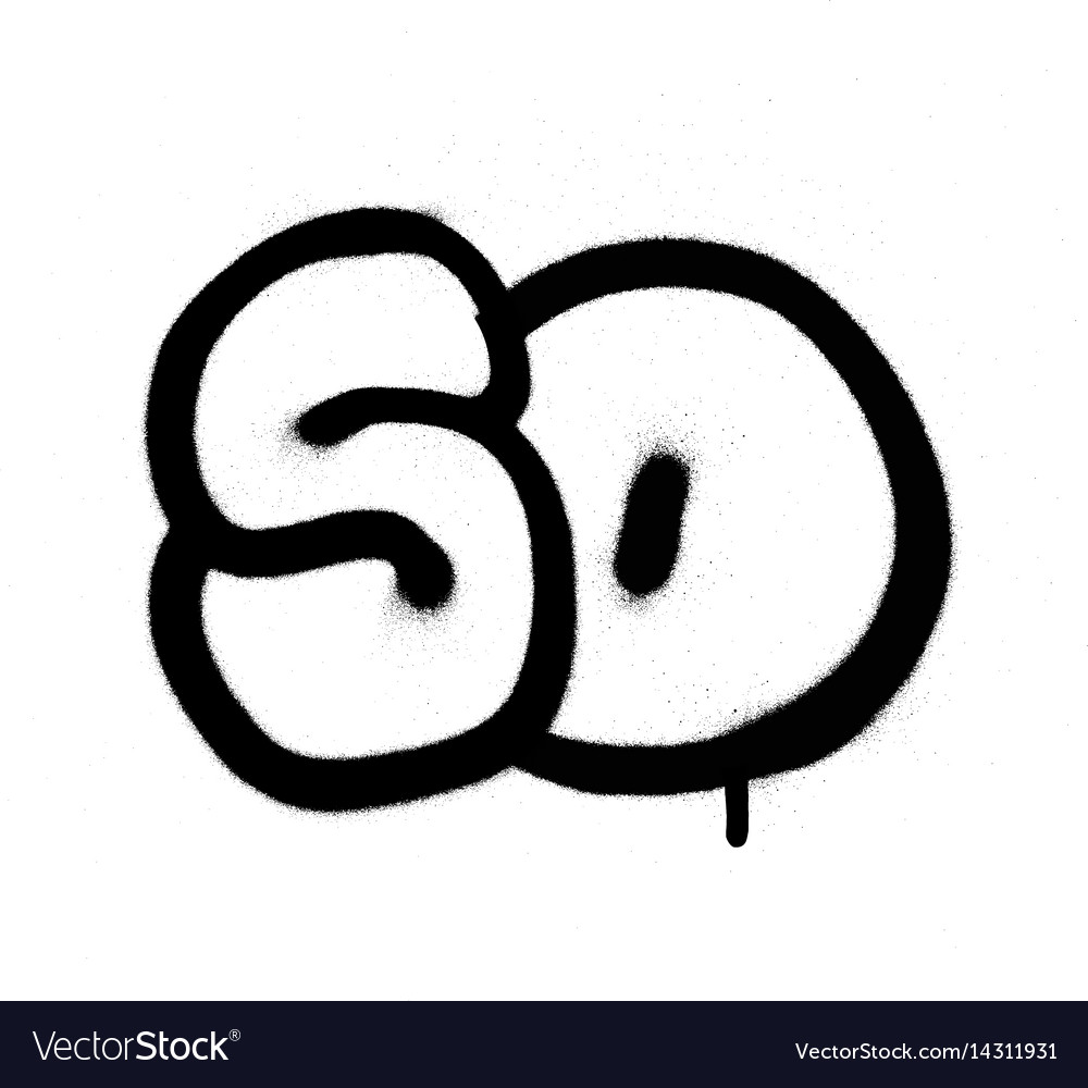 Graffiti bubble number 50 fifty in black vector image