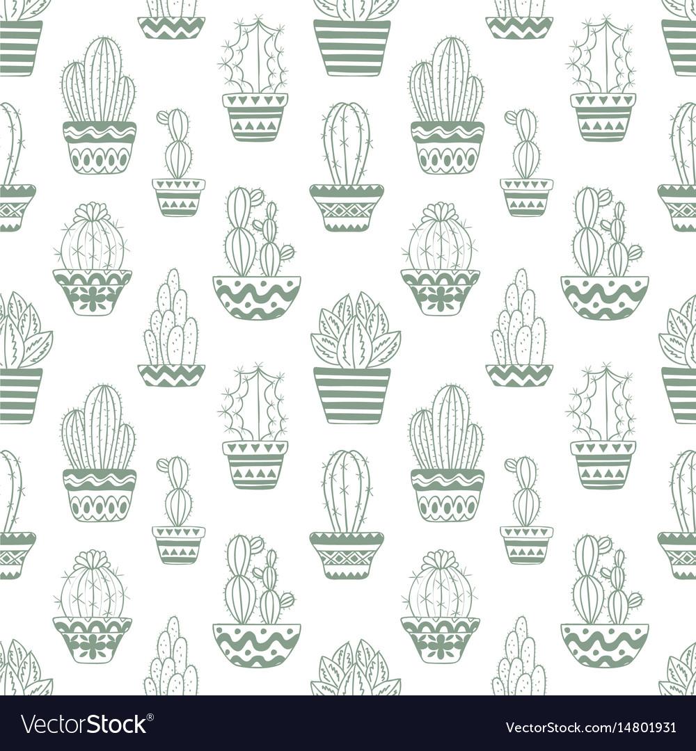 Hand drawn sketch pattern cactus