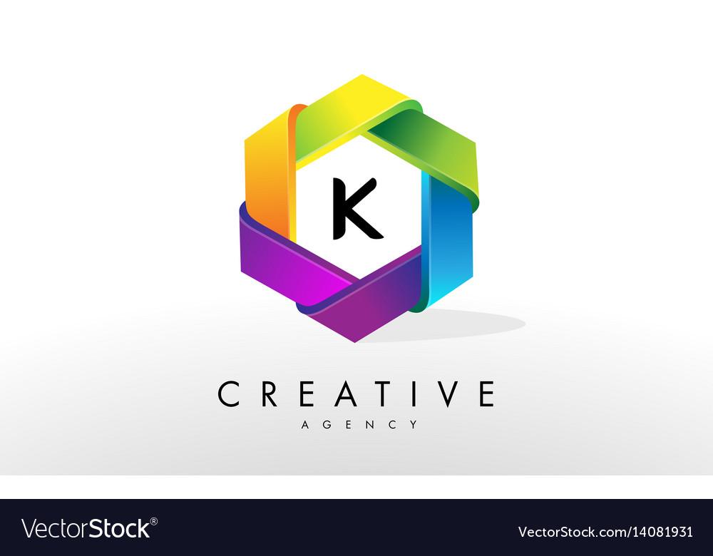 K letter logo corporate hexagon design vector image