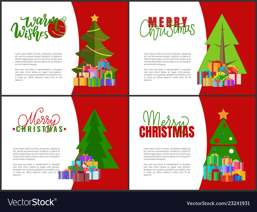 Merry christmas cards green xmas trees garlands