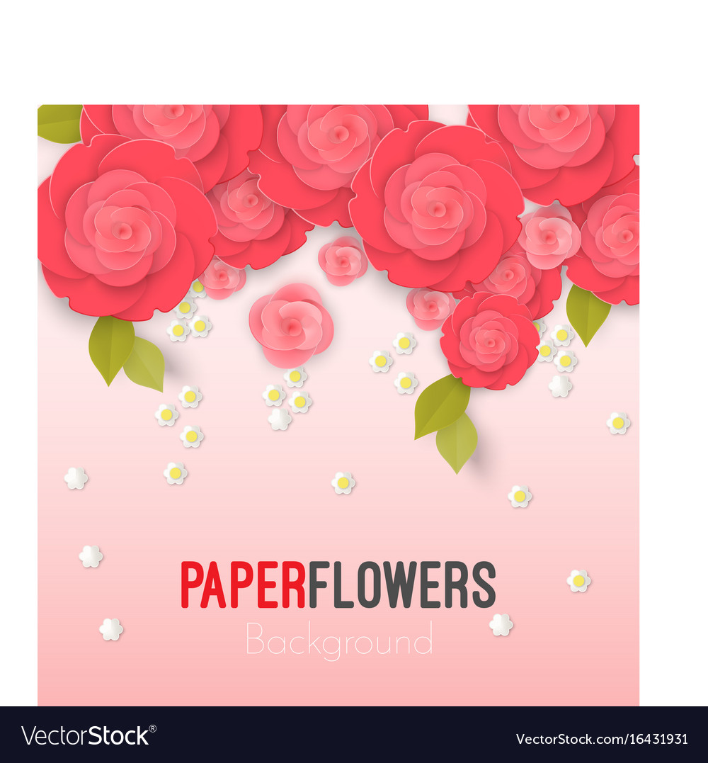Paper Flower Realistic Style Of Pink Royalty Free Vector
