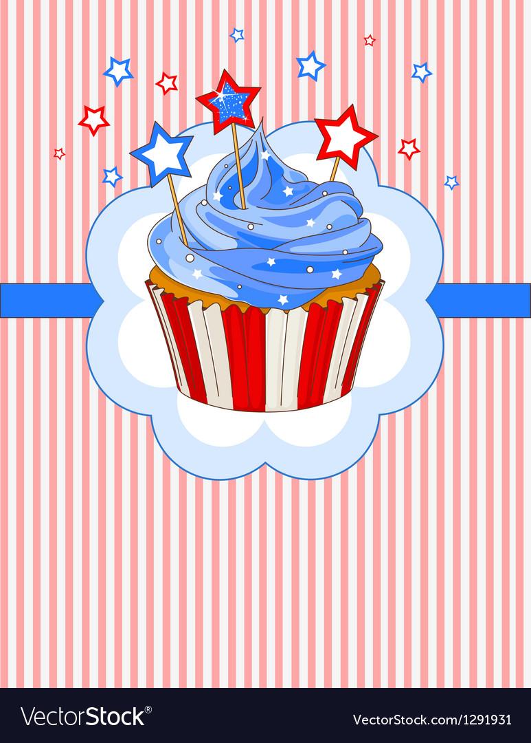 Patriotic cupcake place card vector image