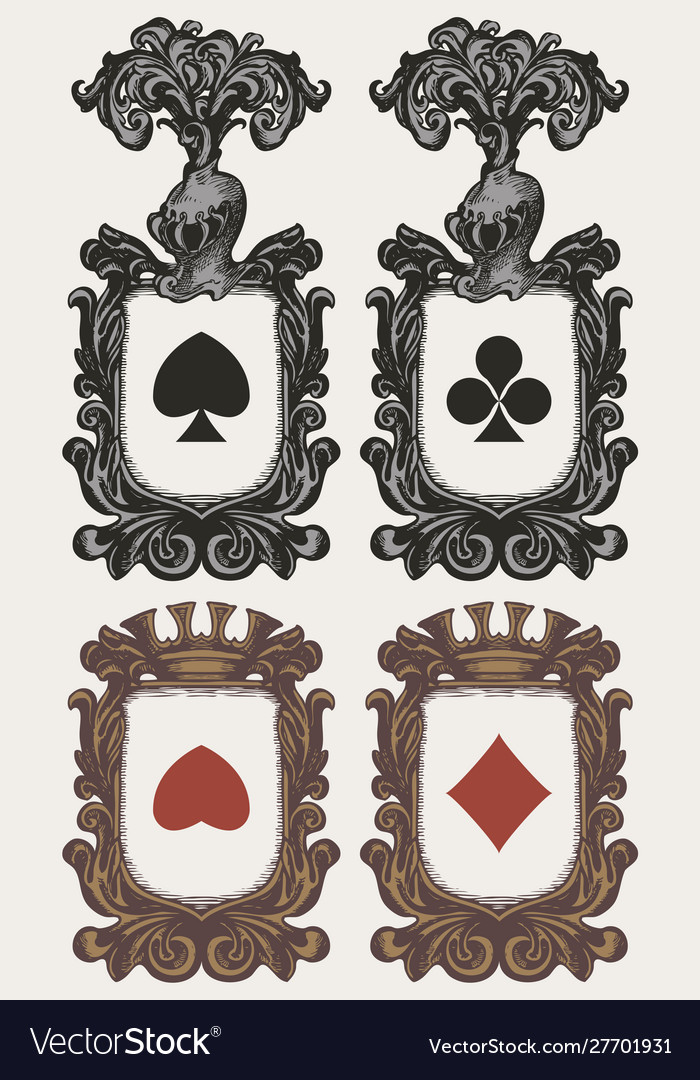 Set heraldic coat arms with card suits