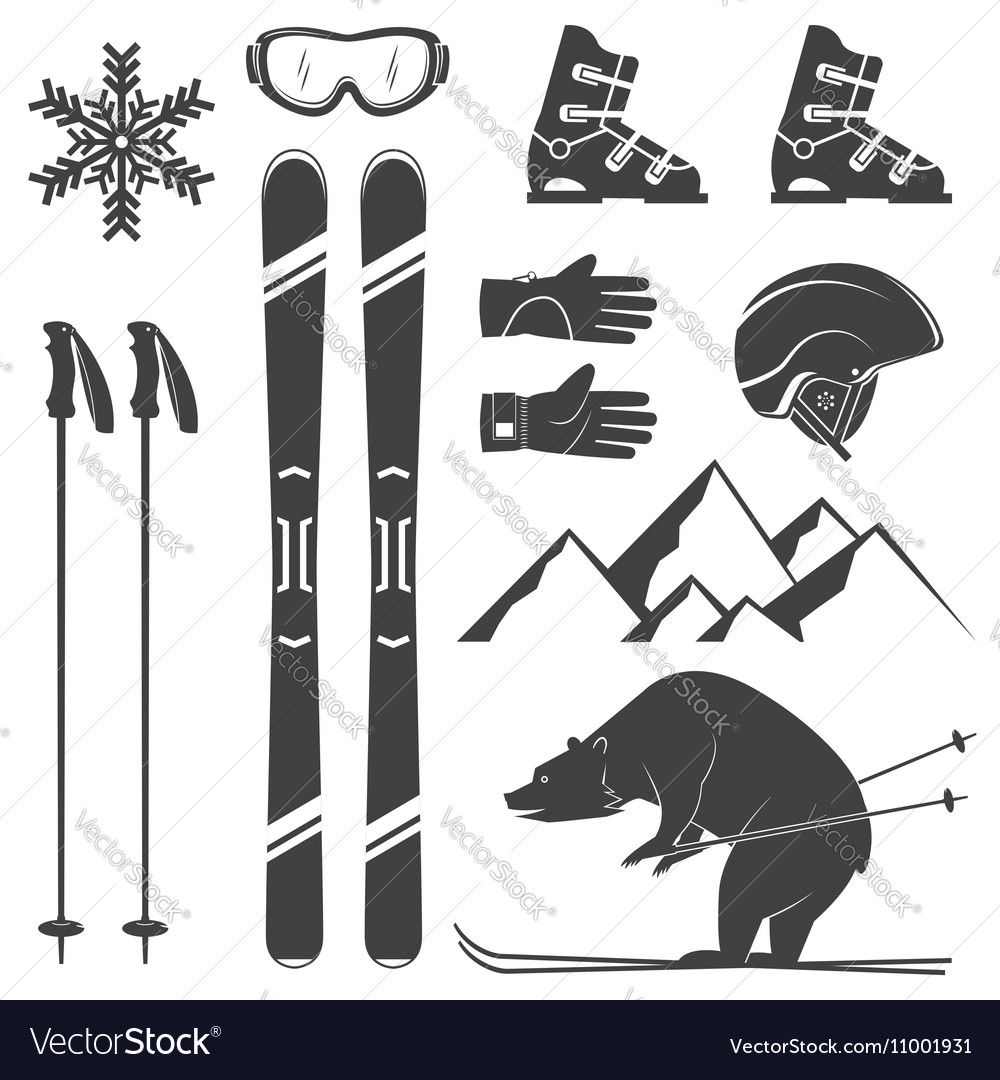 Set of skiing equipment silhouette icons