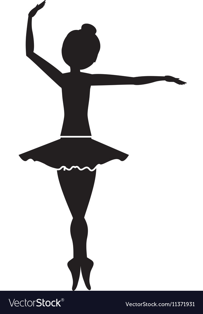 Silhouette with dancer pirouette fourth position