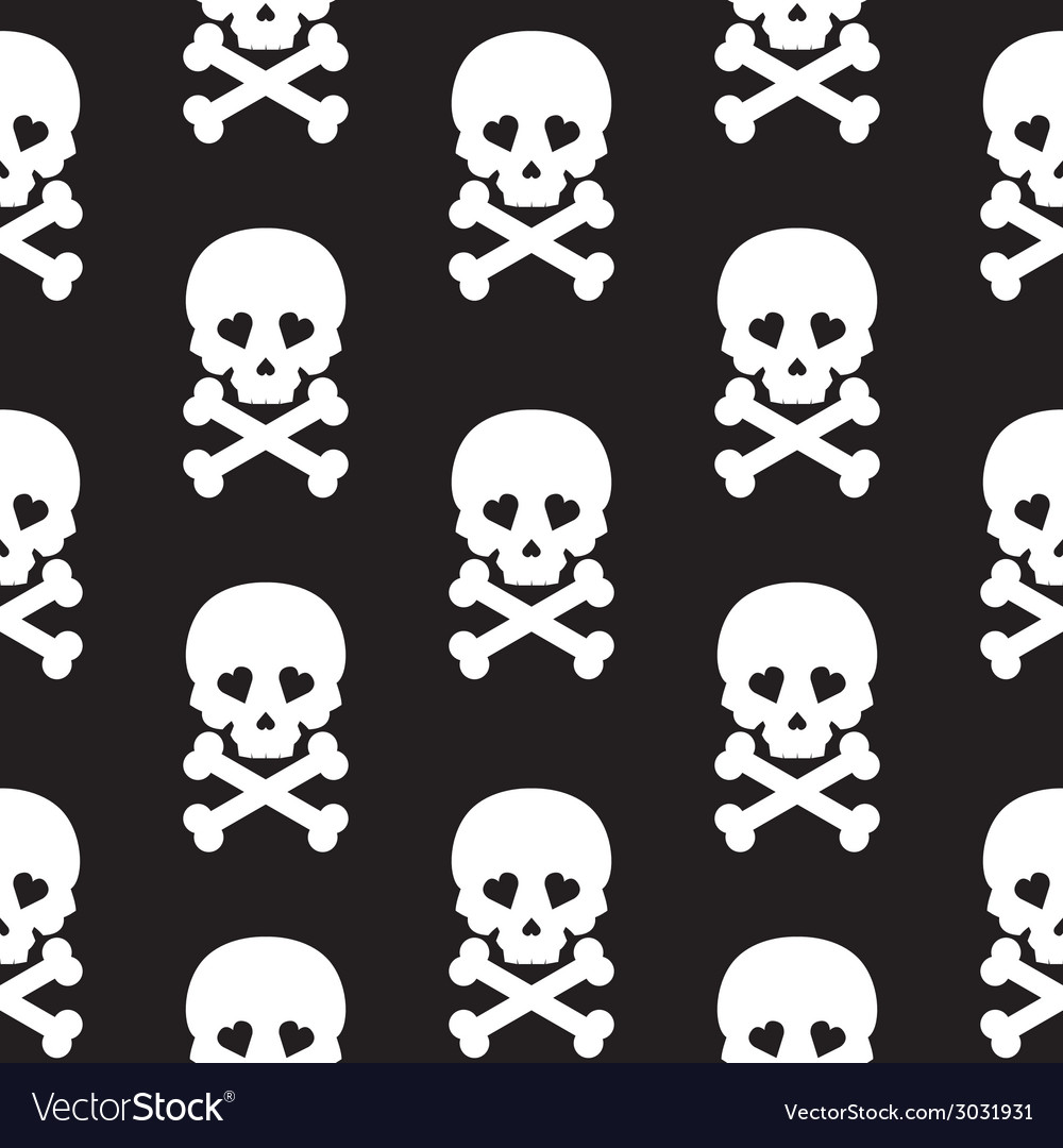 Skull seamless pattern background white black