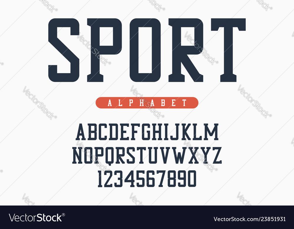 Sport font original college alphabet athletic