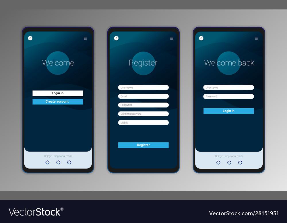 Ui Ux Mobile Application Interface Design Vector Image