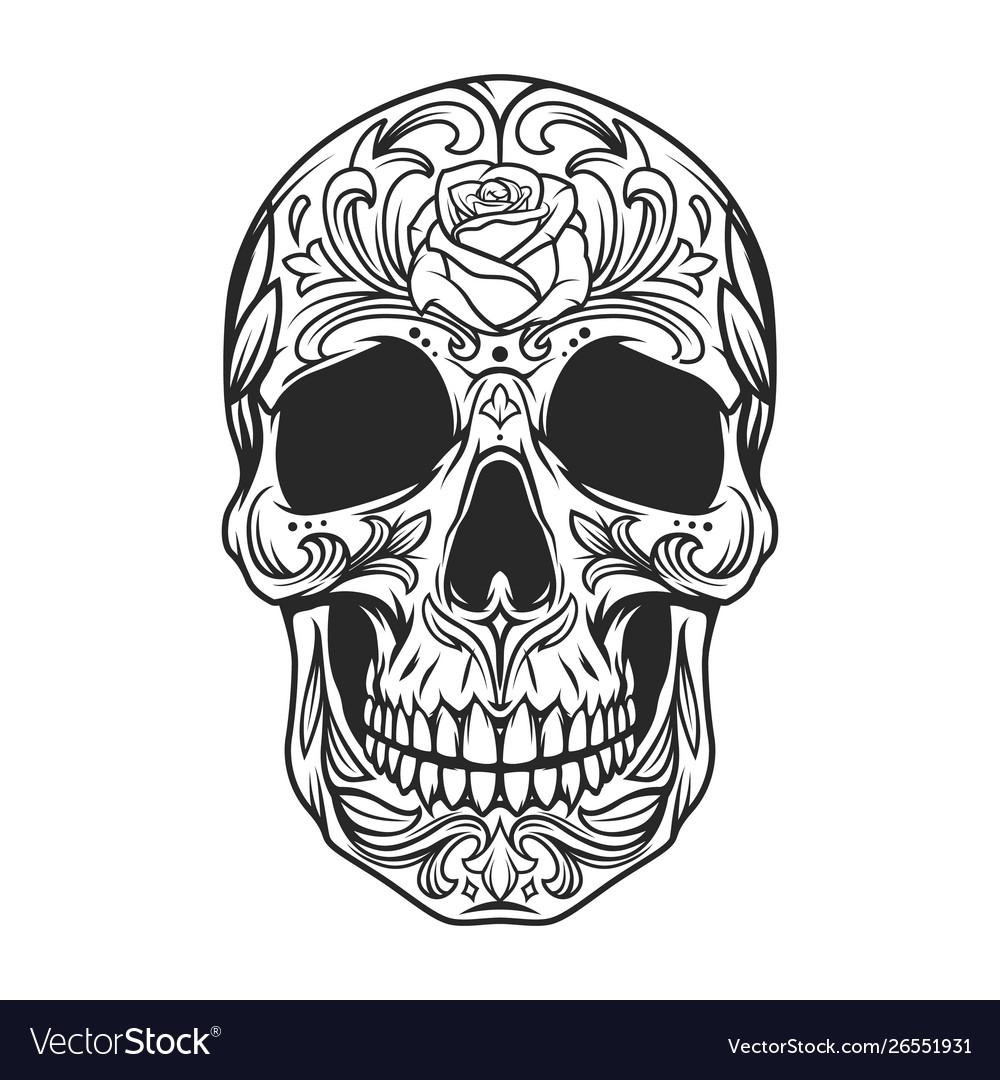 Vintage monochrome sugar skull