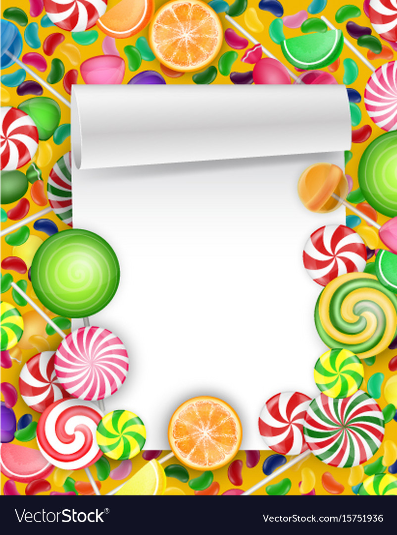 Colorful candy background with lollipop and orange