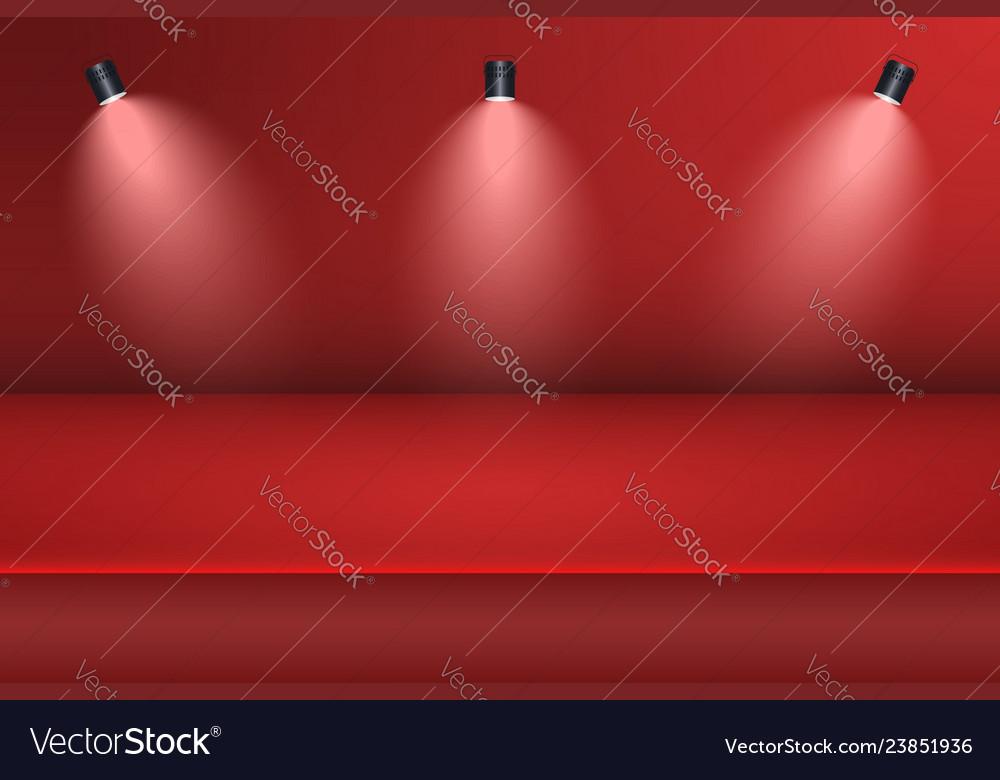 Empty studio room background with spotlight red