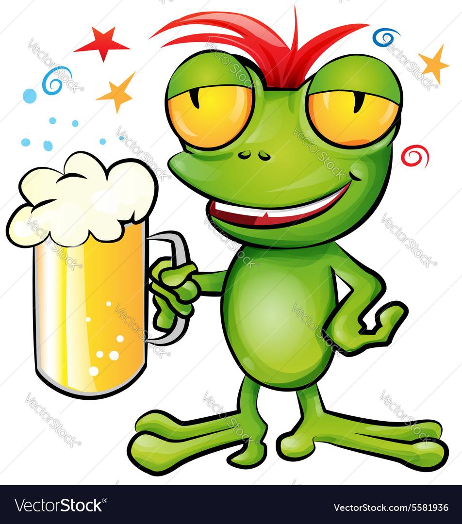 Frog cartoon with schooner beer vector image