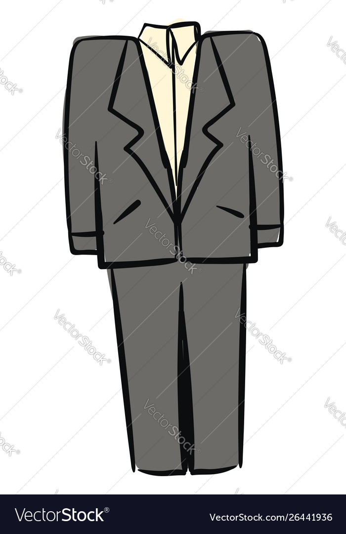 Gray man suit on white background