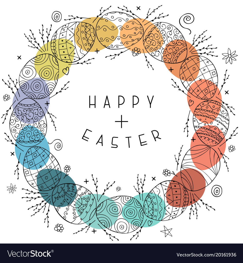 Happy easter card with hand drawn ornamental eggs vector image