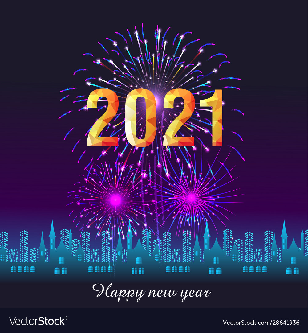 happy new year 2021 with firework background vector image vectorstock
