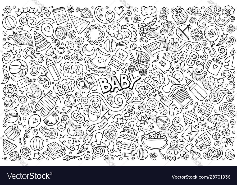 Line art doodle cartoon set baobjects