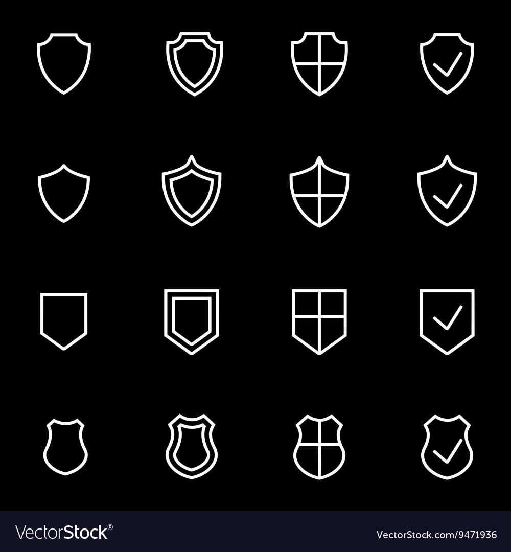 Line shield icon set
