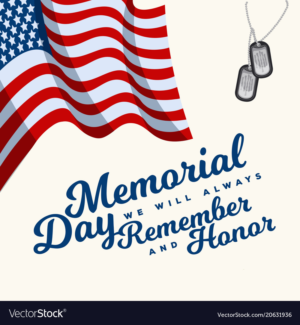 Memorial day typography design layout for usa