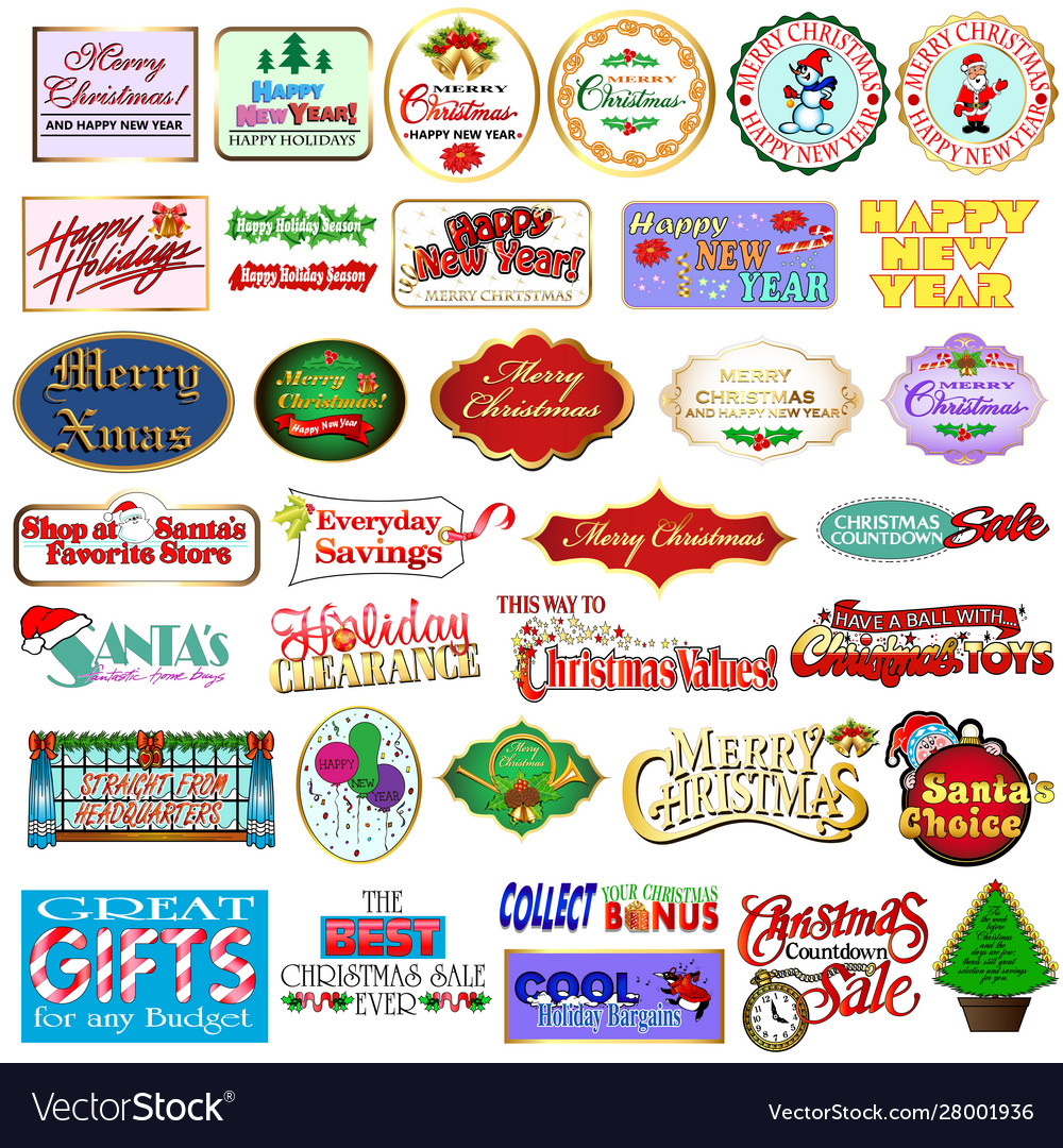 Set christmas and new year labels badges