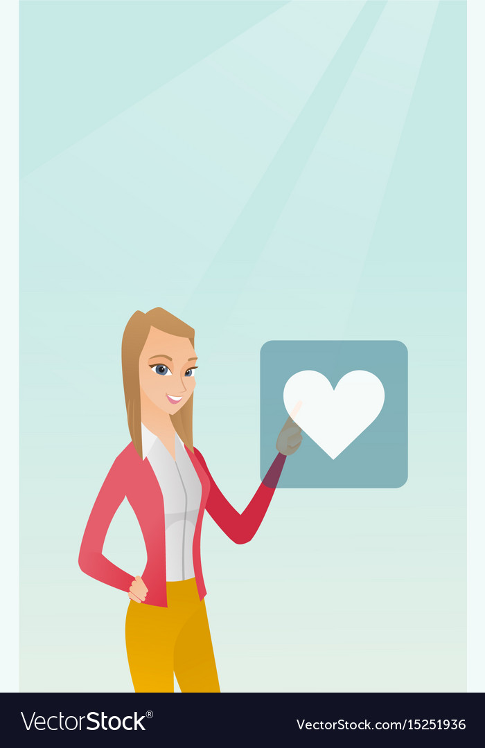 Young woman pressing heart shaped button