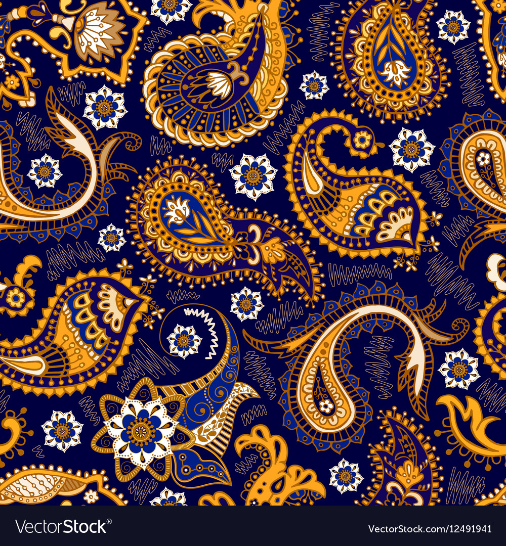 Colorful Paisley seamless pattern Original vector image