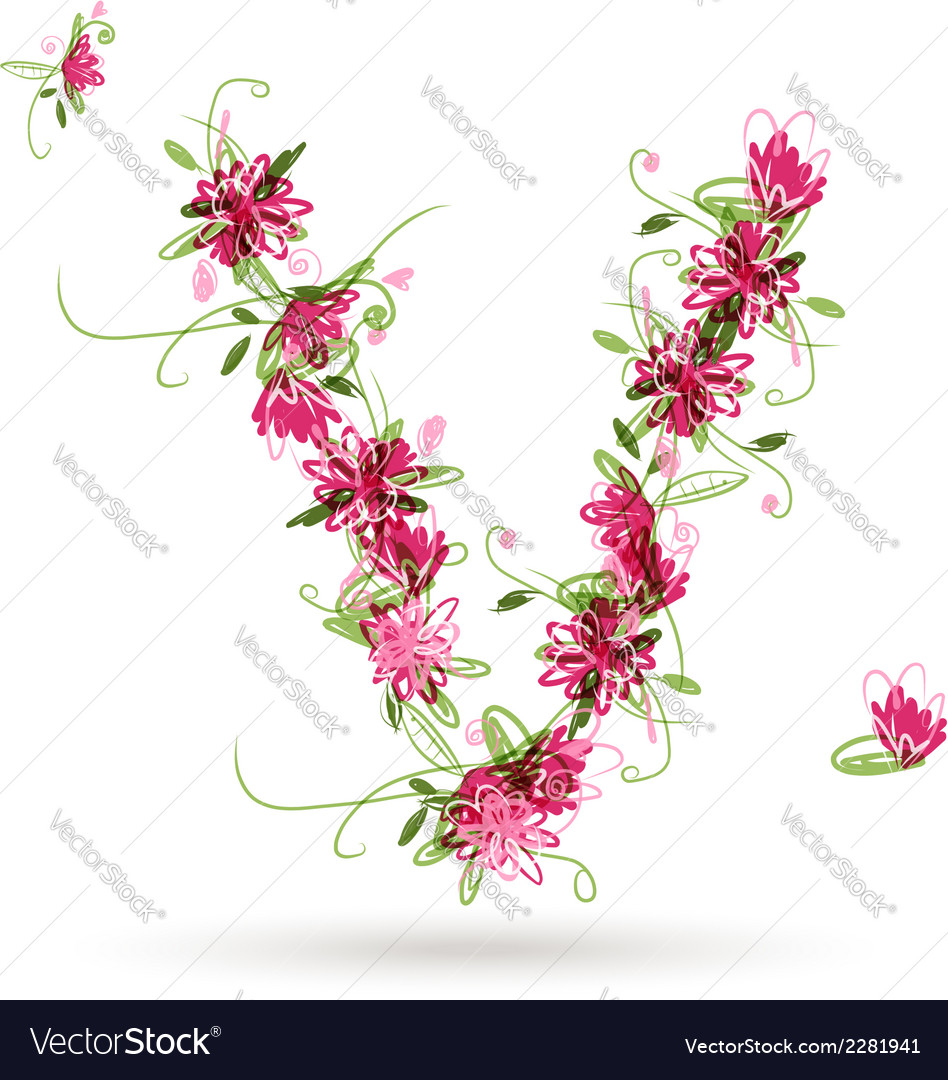 Floral letter v for your design royalty free vector image floral letter v for your design vector image altavistaventures Images