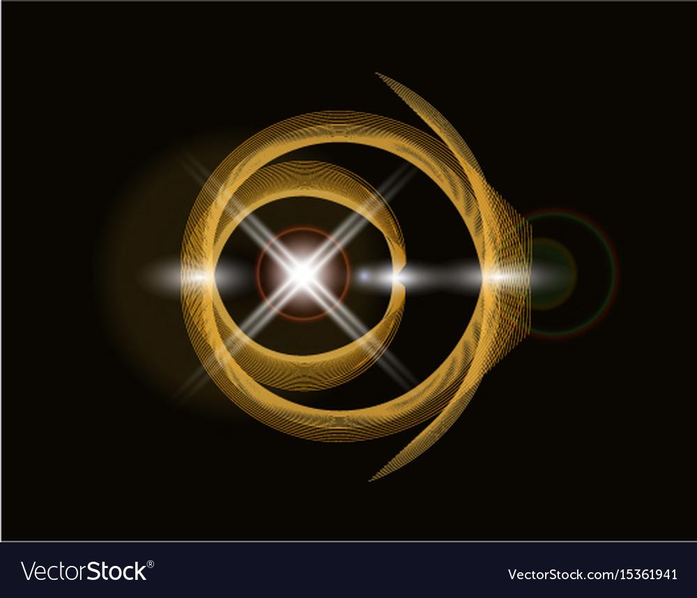 Golden shiny loop on a dark background bright