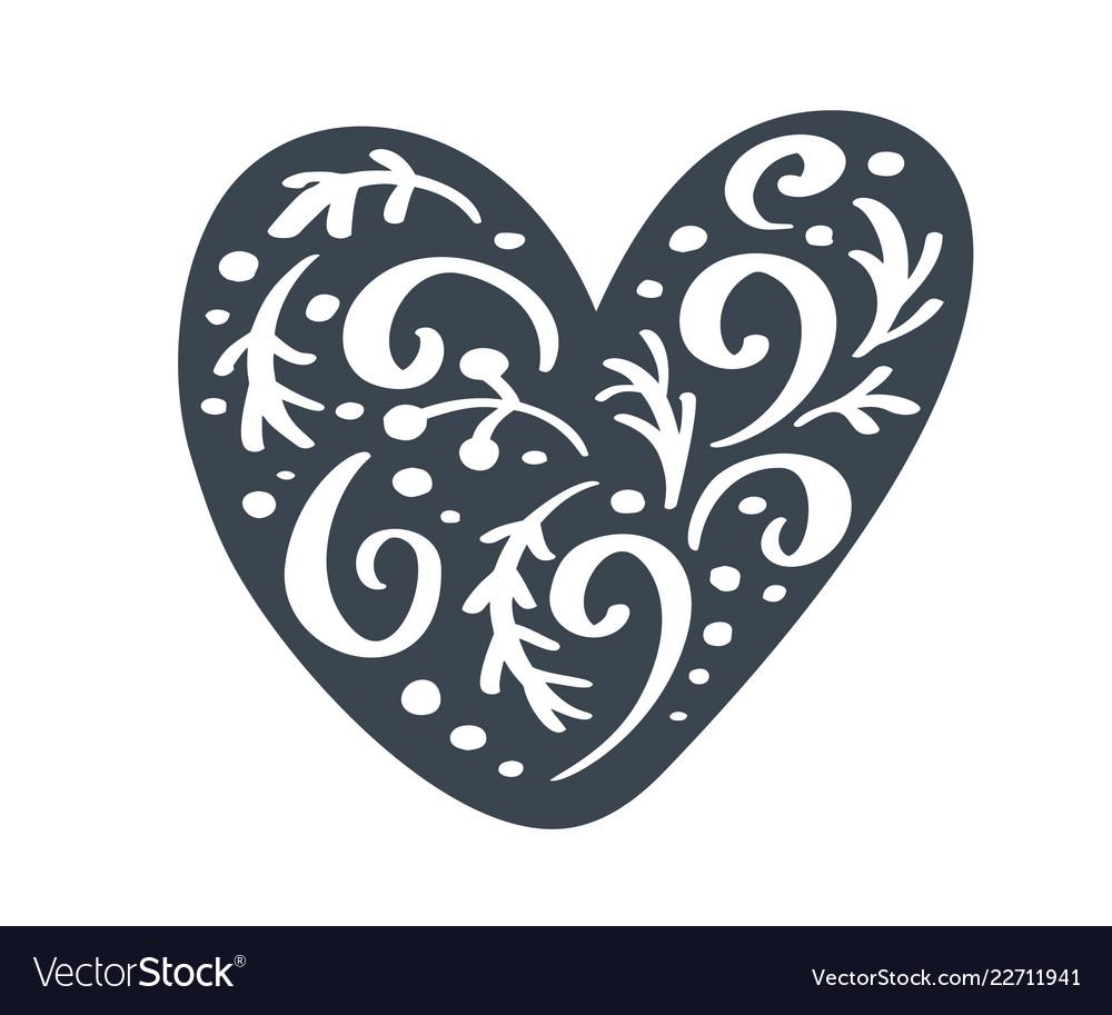 Handdraw scandinavian christmas heart with