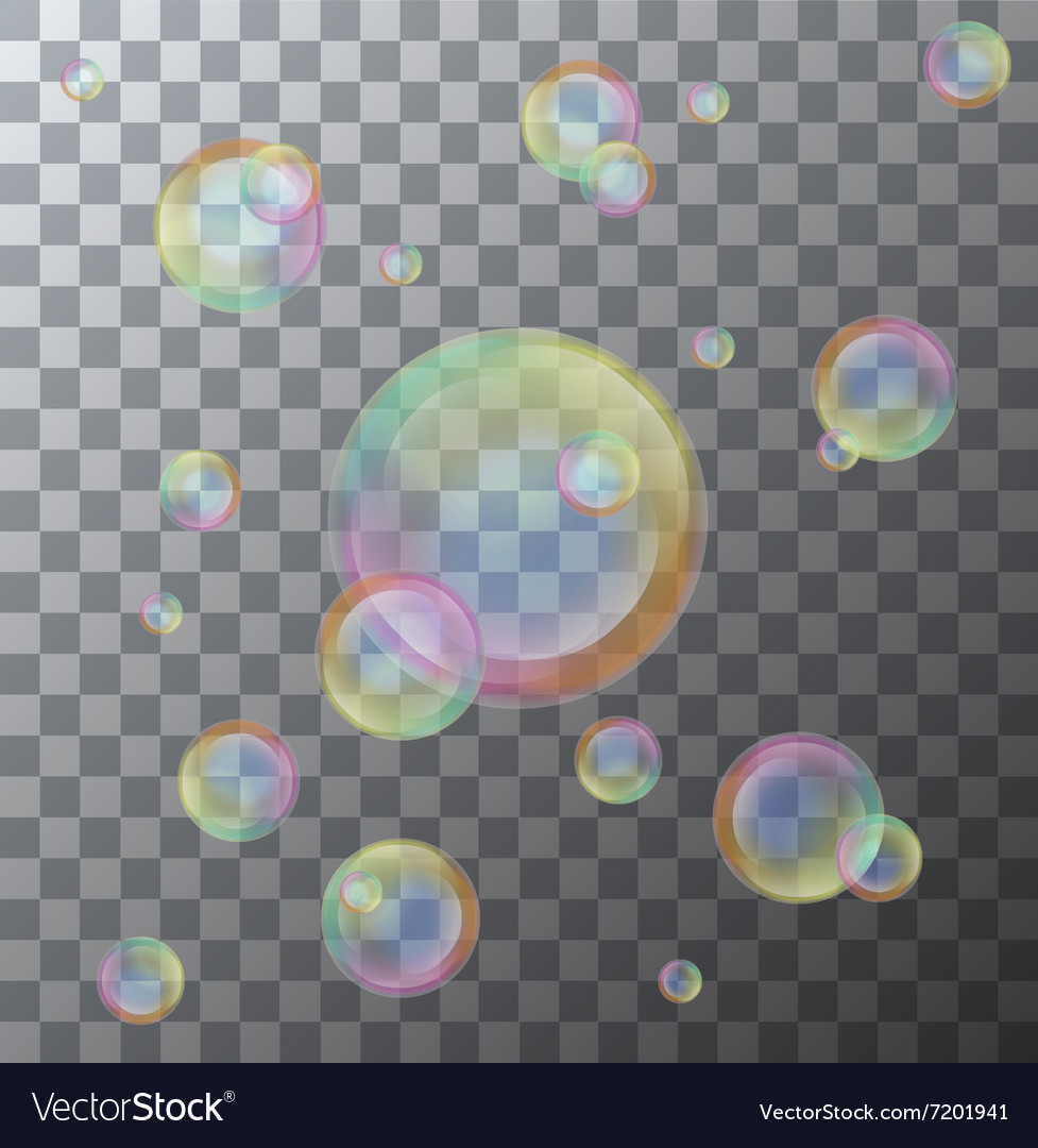 Modern soap bubbles on background