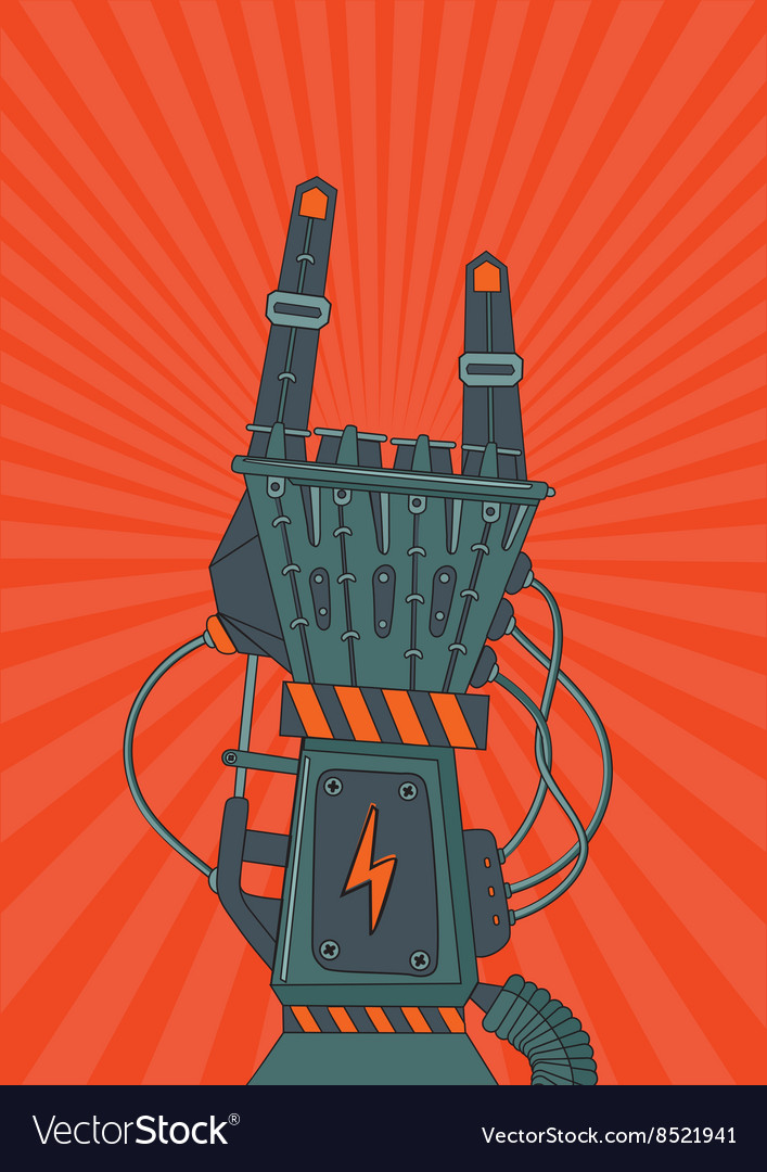 Robot rock Retro music poster with metallic robot vector image
