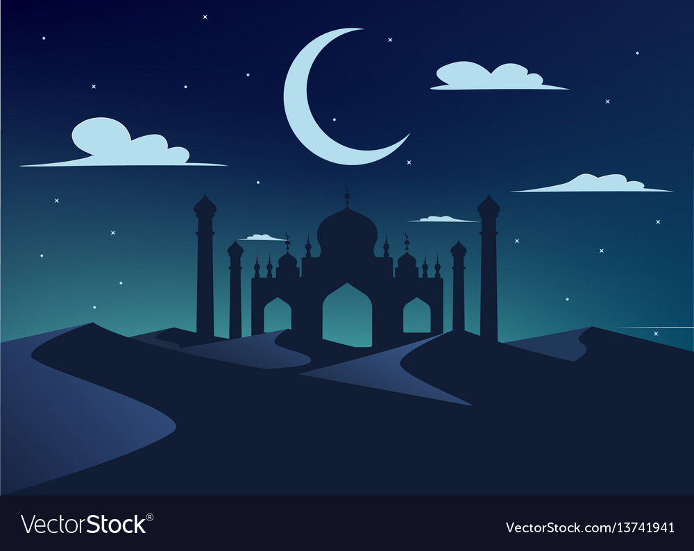 Silhouette of mosque in night desert