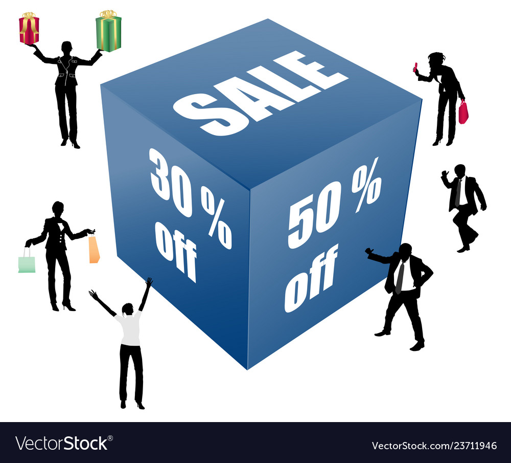 Big sale box with peoples