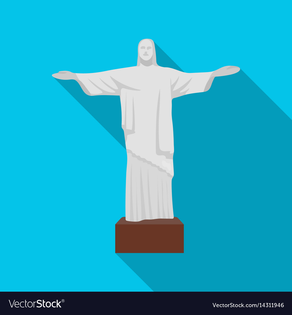 Christ the redeemer icon in flate style isolated vector image