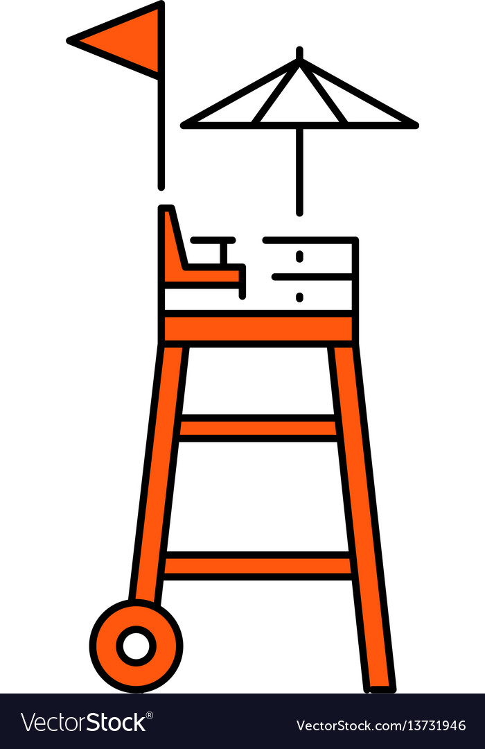 Flat icon rescue tower vector image