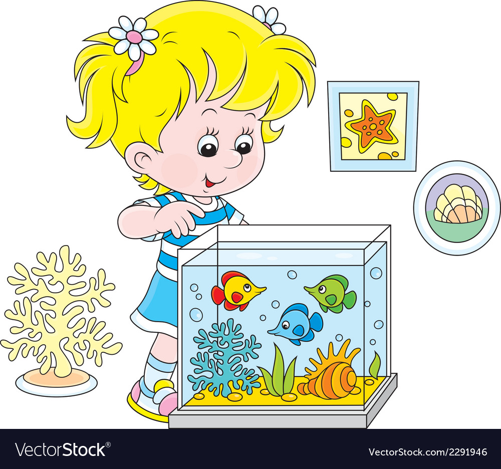 Girl looking at aquarium fishes vector image