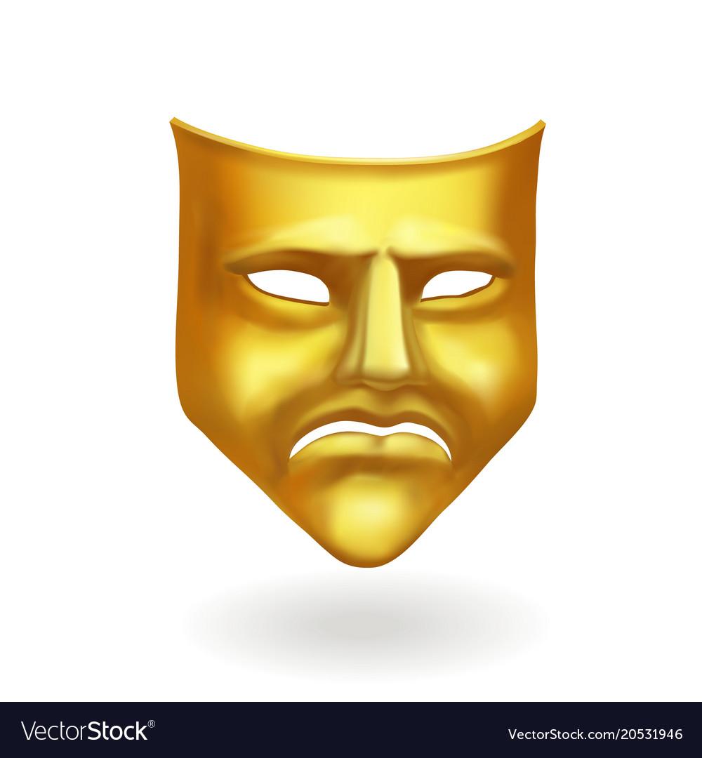 Gold theatrical sad mask tragedy icon symbol