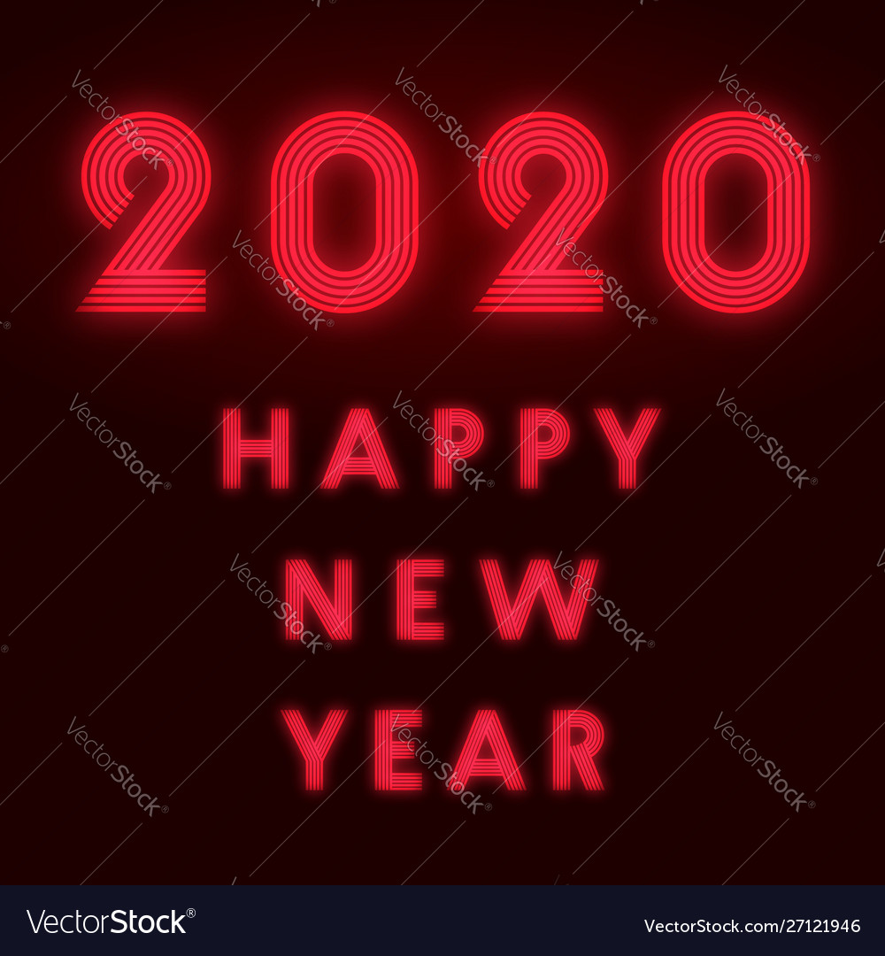 Happy new year 2020 background red neon design