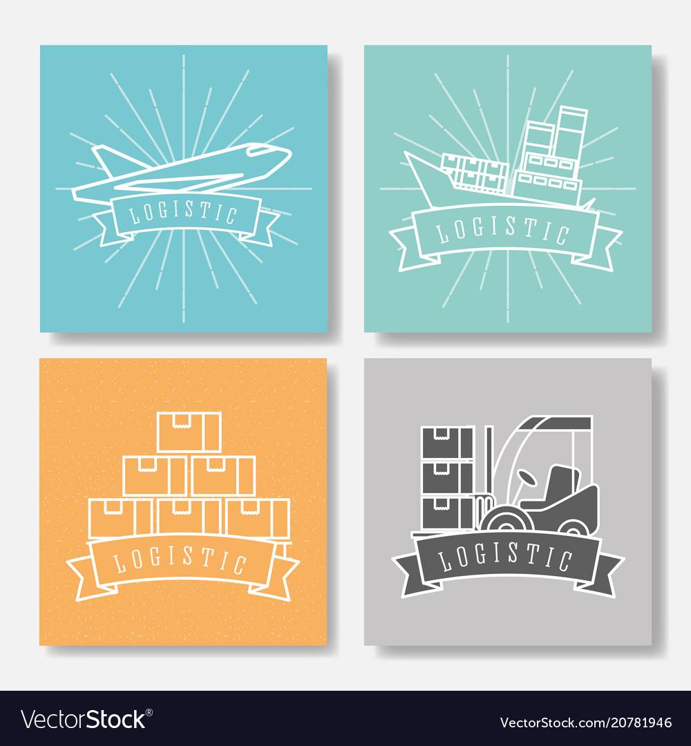 Logistic boat cargo forklift plane boxes emblem