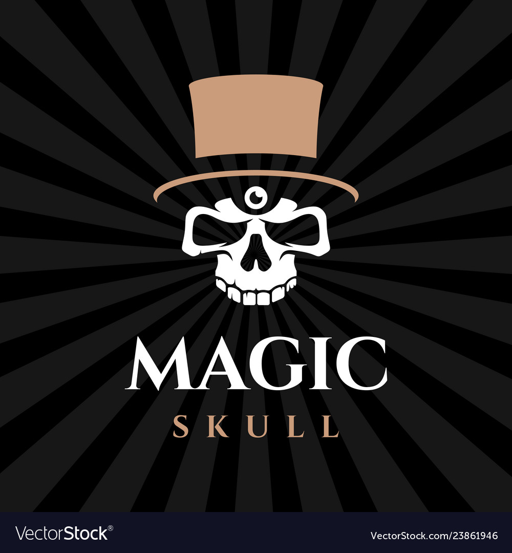 Modern professional emblem magic skull in black