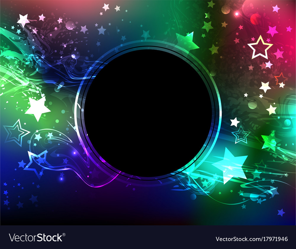Round banner with northern lights vector image