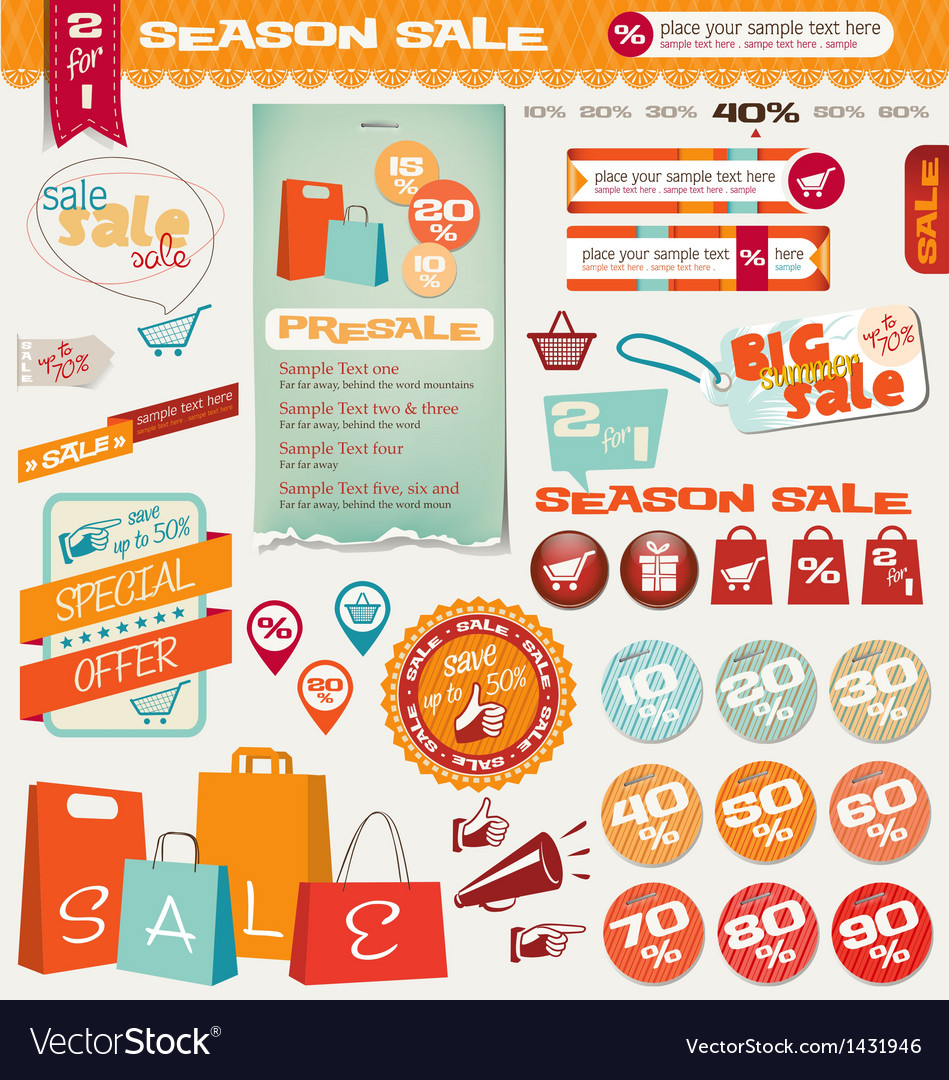 Sale labels banner icons vector image
